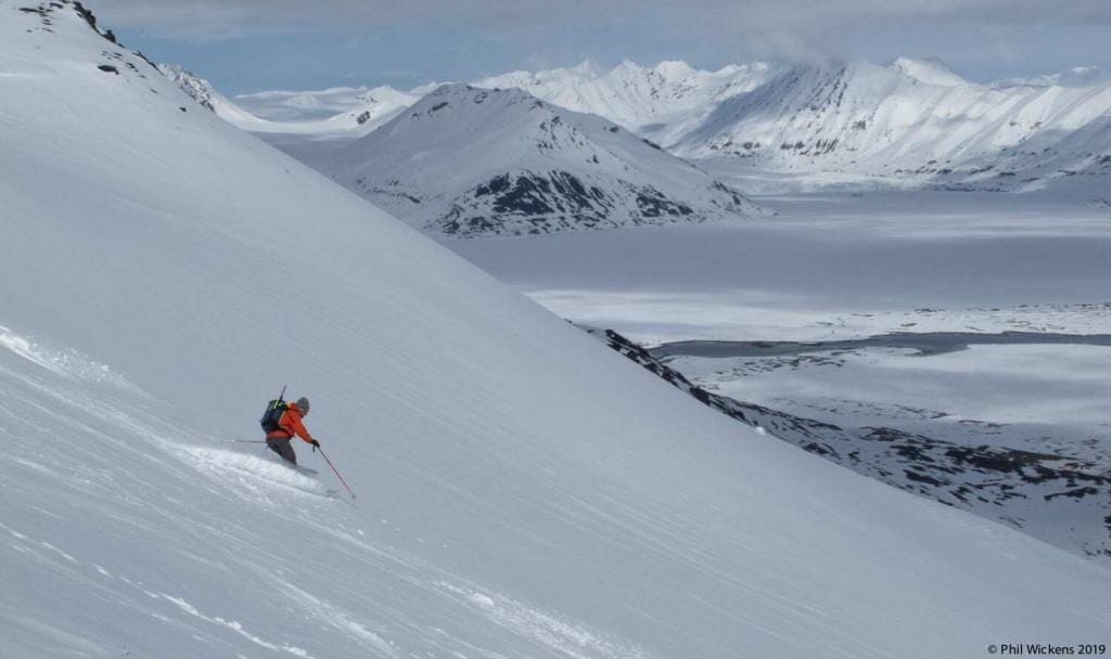 Tom leading the way down one of the many perfect ski peaks in the Svalbard Archipelago